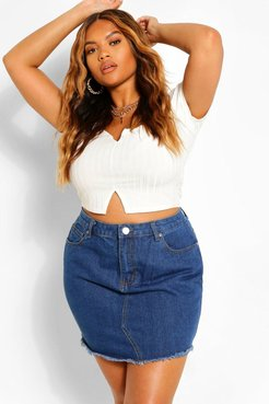 Plus Fray Hem Denim Skirt - Grey - 14
