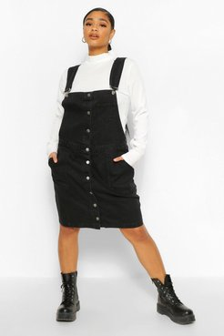 Plus Denim Pocket Pinafore Dress - Black - 12