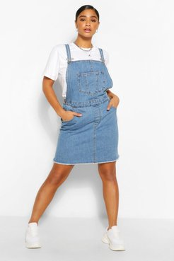Plus Denim Pocket Fray Hem Pinafore Dress - Blue - 14