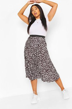 Plus Pastel Leopard Pleated Midi Skirt - Black - 20