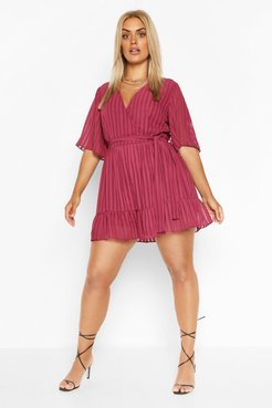 Plus Satin Stripe Ruffle Romper - Red - 22