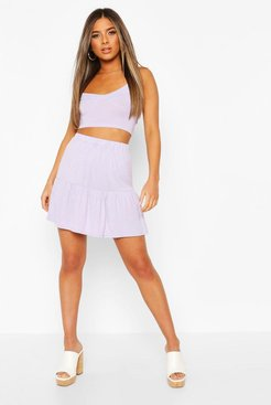 Petite Tiered Mini Skater Skirt - Purple