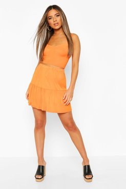 Petite Tiered Mini Skater Skirt - Orange