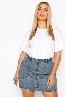 Plus Pocket Detail Vintage Look Denim Skirt - Blue - 16