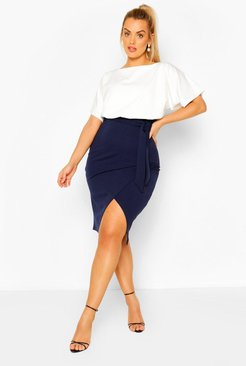 Plus Colour Block Midi Dress - Navy - 20
