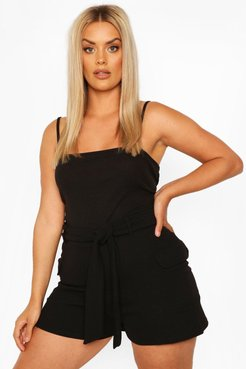 Plus Tailored Pocket Belted Short - Black - 20