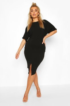 Plus Wiggle Midi Dress - Black - 24