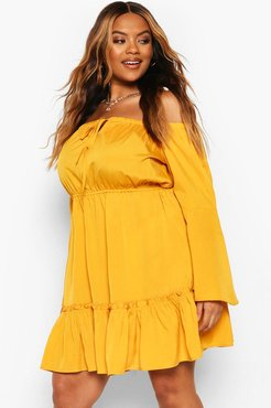 Plus Off The Shoulder Mini Dress - Yellow - 18