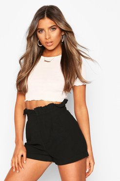 Petite Paperbag Waist Tailored Short - Black - 10