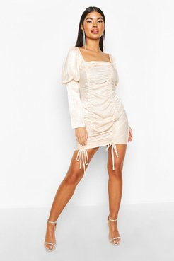 Petite Hammered Satin Volume Sleeve Mini Dress - Beige
