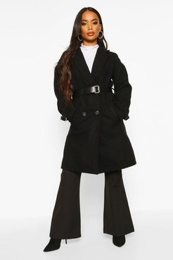 Petite Belted Wool Look Trench Coat - Black - 8