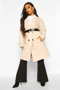 Petite Belted Wool Look Trench Coat - Beige - 10