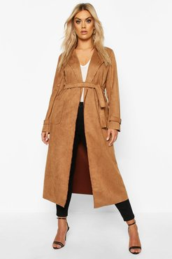 Plus Soft Faux Suede Trench Coat - Beige - 12