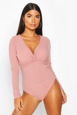 s Petite Ribbed Twist Front One Piece - Pink - 10