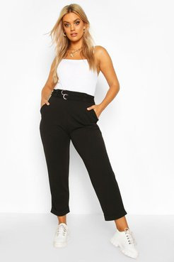 Plus High Waisted Belted Cargo Pants - Black - 16