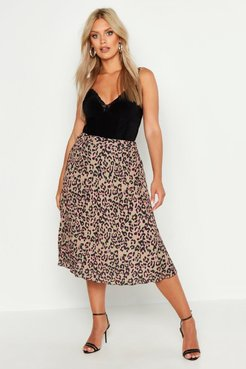 Plus Leopard Print Pleated Midi Skirt - Brown - 12