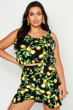 Plus Lemon Print Frill Top And Flippy Short Co-ord