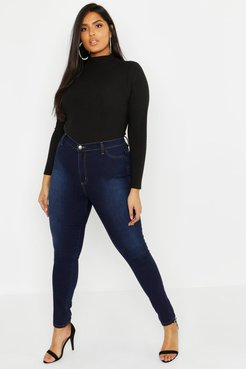 Plus Super High Waisted Power Stretch Jeans - Blue - 14