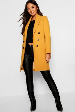 s Petite Double Breasted Duster Coat - Yellow - 6
