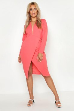 Plus Plunge Wrap Midi Dress - Orange - 18