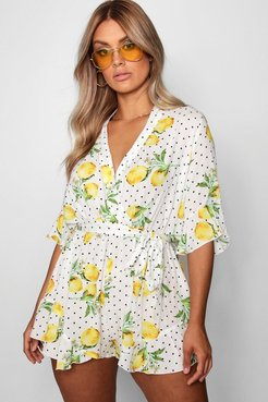 Plus Lemon Polka Dot Wrap Ruffle Romper - White - 12