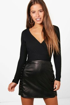 s Petite Knitted Wrap One Piece - Black - 10