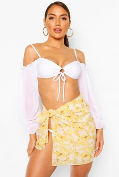 s Chain Print Tie Sarong - White - One Size