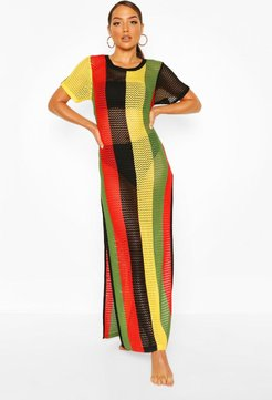 Knitted Stripe Beach Maxi Dress - Multi - M