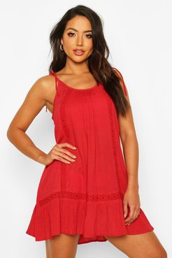 s Embroidered Cheesecloth Beach Dress - L