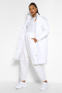 Tall Hooded Longline Puffer Coat - Cream - 14