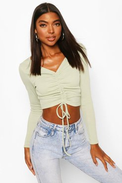 Tall Basic Rib Ruched Front Crop Top - Green - 12