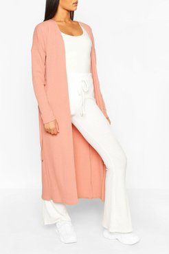 s Tall Ribbed Belted Duster - Pink - S/M