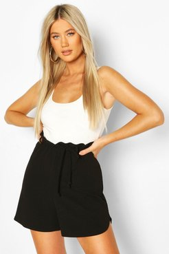 Tall Belted Tailored Shorts - Black - 14