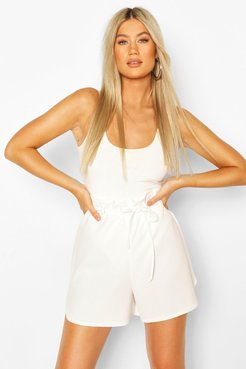 Tall Belted Tailored Shorts - White - 10