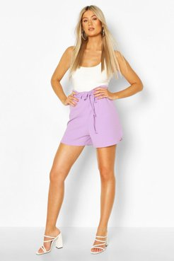 Tall Belted Tailored Shorts - Purple - 6