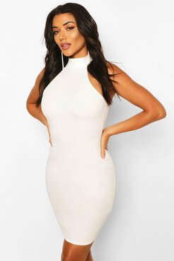 Tall Halterneck Fitted Mini Dress - White - 8