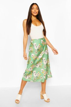 Tall Satin Floral Print Midi Skirt - Green - 10