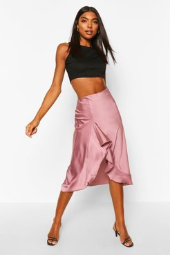 Tall Satin Ruffle Midi Skirt - Purple - 12
