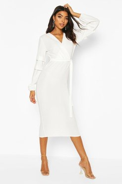 Tall Ruched Sleeve Belted Midi Dress - White - 10