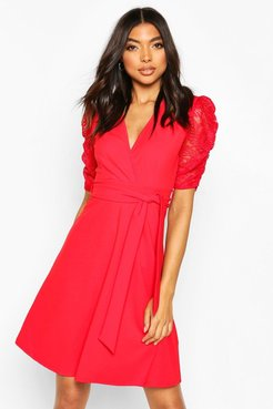 Tall Lace Sleeve Midi Skater Dress - Red - 4