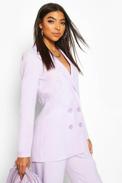 Tall Double Breasted Woven Blazer - Purple - 4