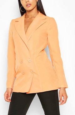 Tall Double Breasted Woven Blazer - Orange - 10