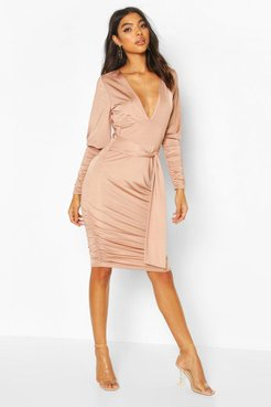 Tall Slinky Ruched Blouson Sleeve Mini Dress - Beige - 6