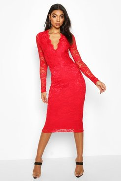 Tall Plunge Lace Midi Dress - Red - 6