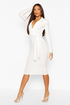 Tall Blazer Belted Midi Dress - White - 2