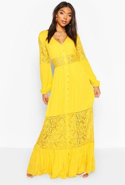 Tall Lace Insert Maxi Dress - Yellow - 4
