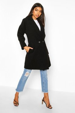 Tall Brushed Wool Effect Button Front Coat - Black - S