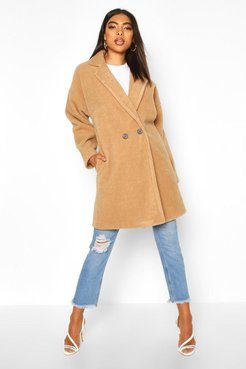 Tall Brushed Wool Effect Button Front Coat - Beige - M