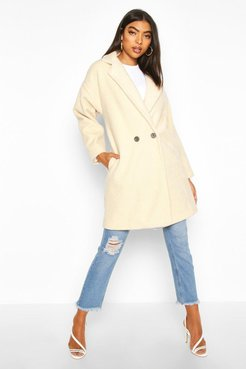 Tall Brushed Wool Effect Button Front Coat - White - S