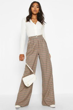 Tall Wide Leg Flannel Pants - Brown - 6